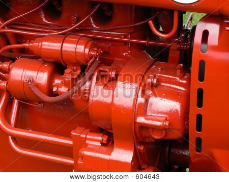 Brightly Colored Tractor Engine