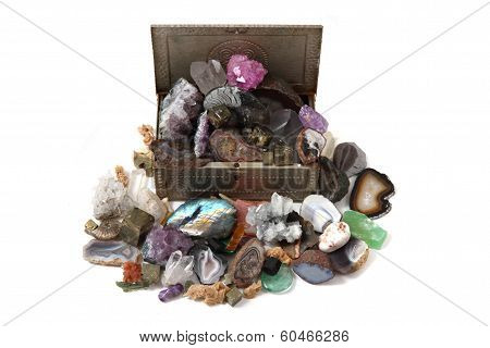 Color Gems In The Box On White Background