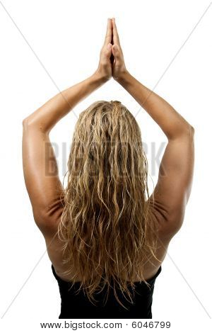 Yoga Pose, Back Of Blond Woman Standing Hands Joined