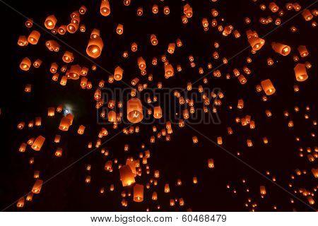 Buddhist sky lanterns firework festival of lights