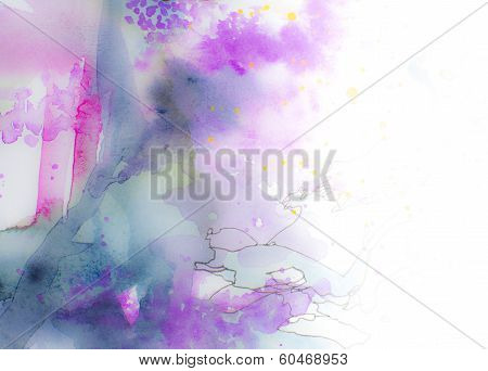 Colorful Pink Blue And Purple Watercolor Background Or Margin