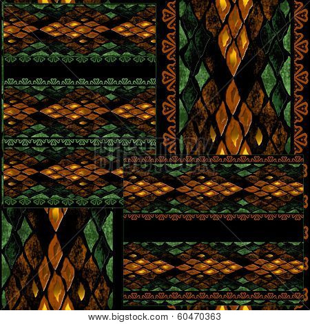 Patchwork seamless snake skin pattern texture background poster