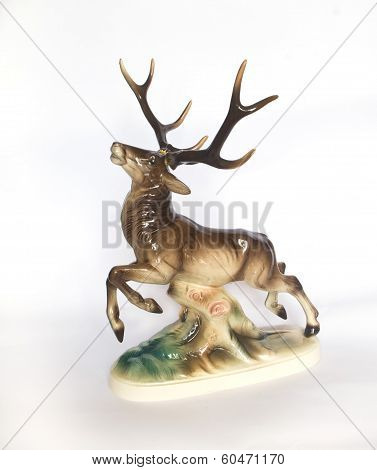 Antique  Porcelain Figurine Of A Deer On  Log