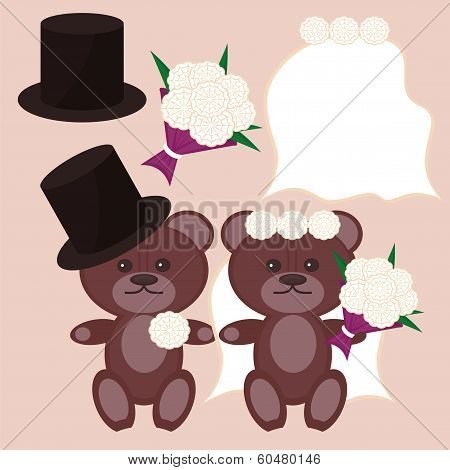 nice bears bridegroom and bride vector illustration poster