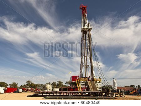Land Drilling Rig and Cloudy Sky