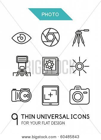 Collection of photo trendy thin line icons for your flat design isolated on white