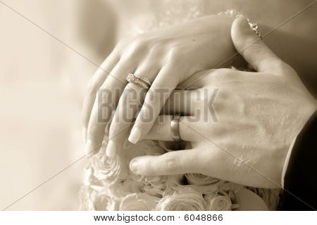 wedding rings on bride and groom hands on wedding day