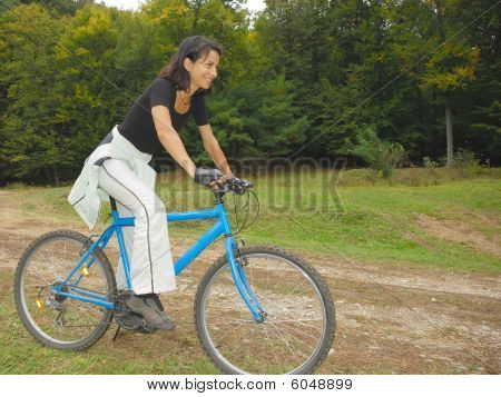 biker riding in nature