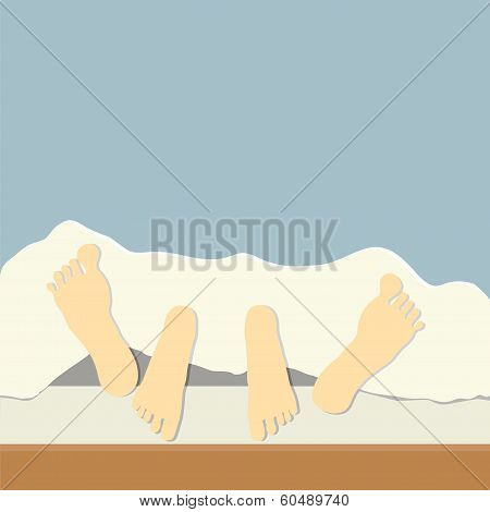 Couple In Bed, Focus On Feet