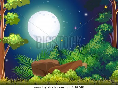 Illustration of a green forest and a bright fullmoon