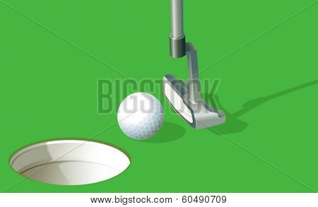 Illustration of a golf ball near the hole