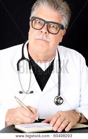 Hilariously Funny Medical Doctor Huge Eyes Writing Prescription