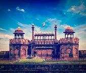 Vintage retro hipster style travel image of India travel tourism background - Red Fort (Lal Qila) Delhi - World Heritage Site. Delhi, India poster