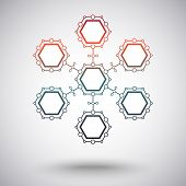 connection from seven identical cells. gradient. vector graphics poster