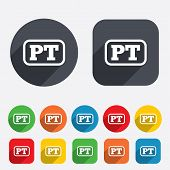 Portuguese language sign icon. PT Portugal translation symbol with frame. Circles and rounded squares 12 buttons. Vector poster