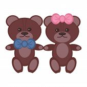 two nice bears pair on white background poster