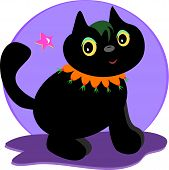 Here is a cute Halloween black cat with a colorful collar. poster