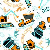 Construction vehicles with stitching in a  seamless pattern. poster