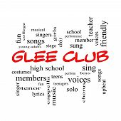 Glee Club Word Cloud Concept in red caps with great terms such as music sing voices and more. poster