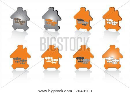 family house abstract symbols for design