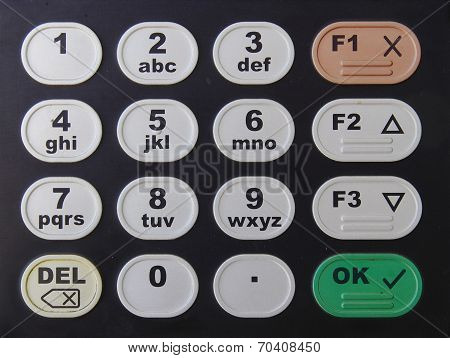 Black keypad with color button with numbers and letters poster
