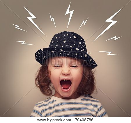 Angry Kid In Hat Screaming White Lightnings Above On Dark