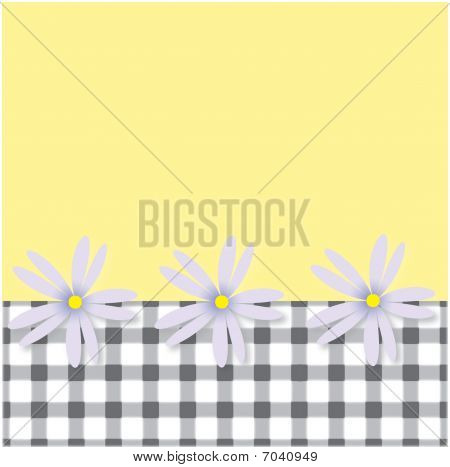 Plaid and Flowers Background