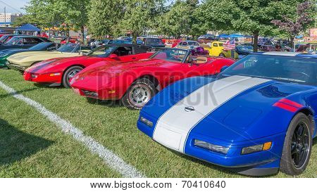 Five Corvettes At The Woodward Dream Cruise