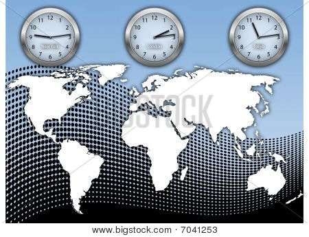 Business Illustration With World Map And Three Clock's