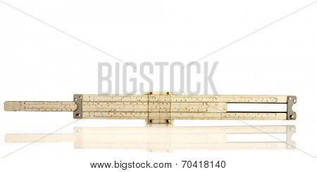 Vintage slide rule isolated on white with reflection