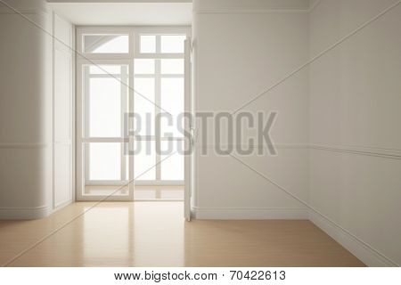 White room in old house with bright sunroom