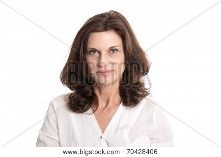 Isolated Serious And Doubtful Older Woman In Middle Age.
