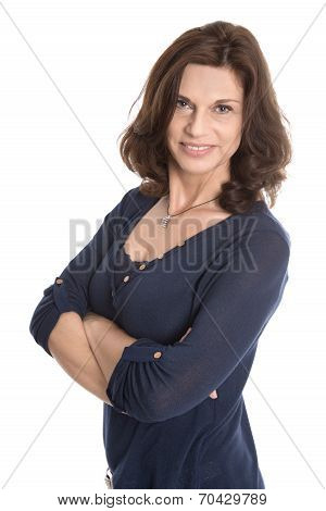 Attractive Middle Aged Woman Isolated Over White.