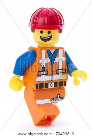 Ankara, Turkey - March 15, 2014 : Lego movie minifigure character Emmet isolated on white background.