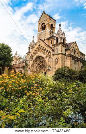 Facade of Jak Chapel, Vajdahunyad Castle Budapest poster