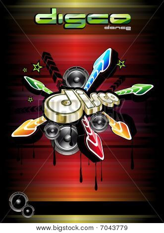 Abstract Disco Dance Event Background with Music Design Elements poster