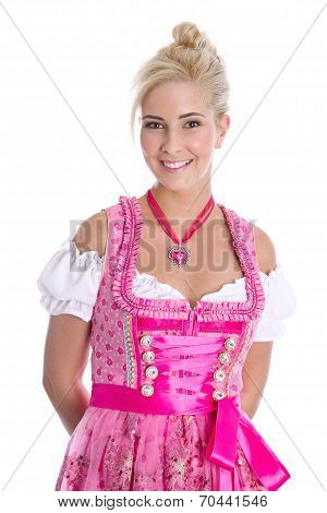 Pretty Isolated Young Woman Wearing Bavarian Dress Called Dirndl.