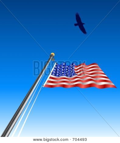 raster graphic depicting a silhouette of an eagle over a waving American flag poster