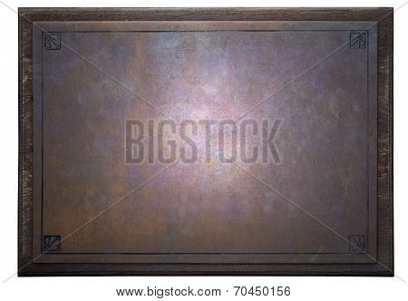 Rusty Metal Plate On Wooden Frame