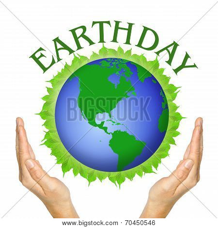 Hands And Globe On Leaves And Wording Earthday