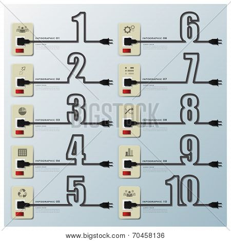 Number Electric Wire Line Business Infographic