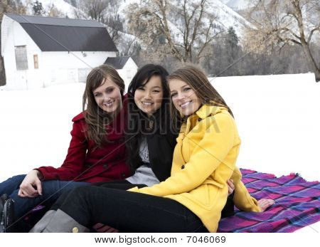 Happy Young Adults in Winter