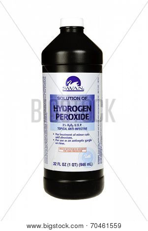 Hayward, CA - July 31, 2014: 32 fl oz bottle of Swan brand Hydrogen Peroxide