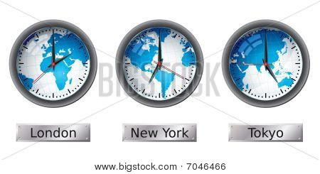 World map time zone clocks