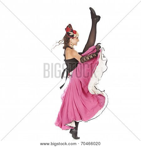 Burlesque Dancer With Red Long Dress For Can-can