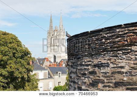 View Of Saint Maurice Cathedral From Angers Castle