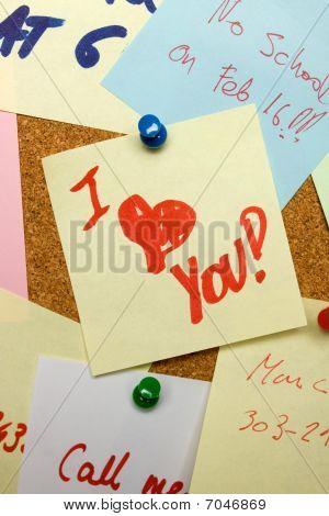 Love Note Pinned On Cork Board