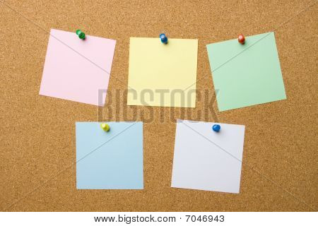 Corkboard With Five Blank Notes