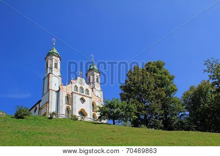 bavarian monastery at calvary hill bad tolz germany. poster