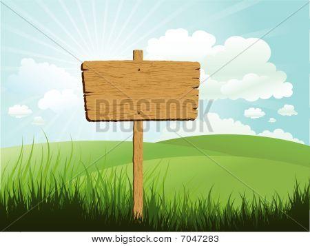 Holz Zeichen im Gras
